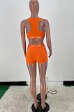 Euramerican Women Letter Print Vest Shorts Sport Two-Piece ARM8275