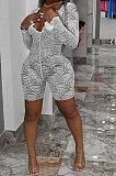 Women Sexy V Neck Bud Silk Fifth Pants Romper Shorts Q835