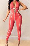 Halter Neck Sexy Bind V Neck Bodycon Jumpsuits Q783