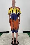 Повседневное свободное платье с V-образным вырезом и принтом тай-дай ARM8270