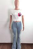 Euramerican Women High Waist Hole Farde Jeans LA3268