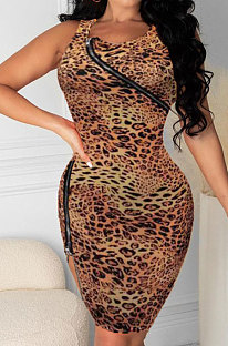 Zipper Leopard Package Fesses Mini Robe Sexy HHB4021