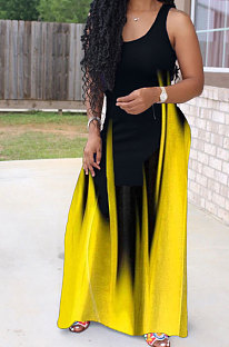 Vestido largo con columpio gigante simple de impresión de moda sexy AMW8313