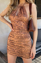 Backless Knotted Strap Drawsting Halter Neck Printing Sexy Trendy Cultivate One's Morality Mini Dress MLM9051