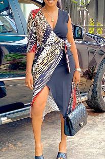 Καλοκαίρι Tie Dye Εκτύπωση Χρώμα Αντιστοίχιση Ανοιχτό Πιρούνι Casual Φόρεμα MK043