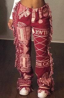 Pantalones largos de borla con patrón de color de moda casual MLM9055