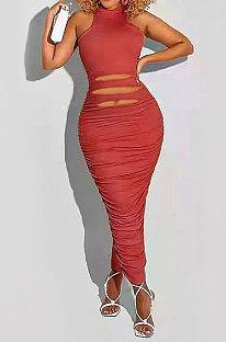 Τούβλινο κόκκινο αμάνικο καθαρό χρώμα μεσαία μέση Seyx μακρύ φόρεμα HHB4011