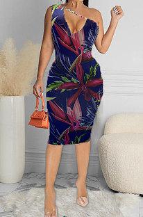 Σέξι πολύχρωμο φόρεμα εκτύπωσης ώμου Midi HHB4018