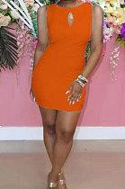 فستان قصير مثير بألوان نقية ومثير بفتحات مفرغة HHB4009