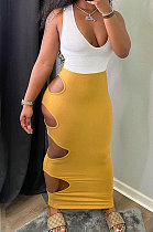 Sexy Pure Color Package Buttocks Hole Sleeveless Skirts Sets MLM9043