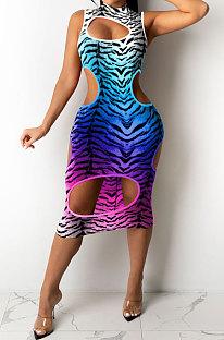 Vestido a media pierna con agujero de leopardo y cambio gradual sexy de moda GHH029