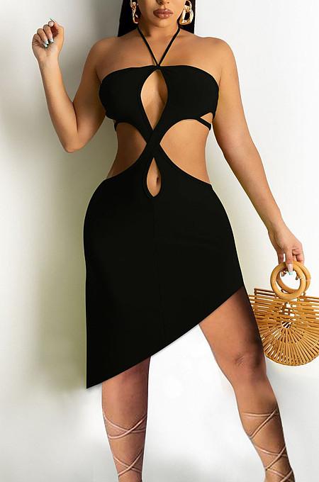 Backless Pure Color Hang A Neck Boob Tube Top Midriff Dress PQ8039