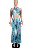 Euramerican Women Chest Warp Tie Dye Wide-Legged Pants Sets LML217