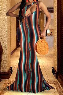 Vestido largo sin mangas holgado con estampado hueco HHB4015
