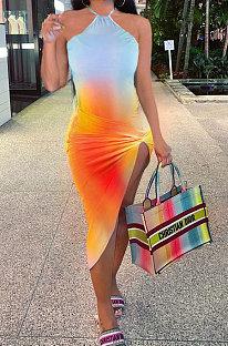 Σέξι σταδιακή αλλαγή Πολύχρωμο φόρεμα Midi HHB4017