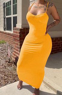 Чистый цвет с оборками и V-образным вырезом Gallus Cultivate One's Morality Сексуальное длинное платье MLM9058
