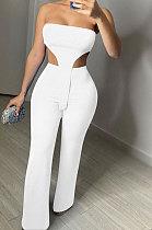 Pure Color Bandeau Bra Sleeveless Casual Pants Sets NK237