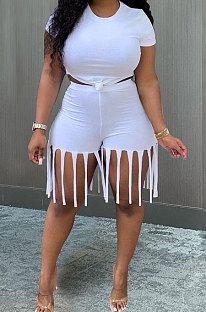 Conjuntos de shorts esportivos femininos Pure Color Tassel MTY6529