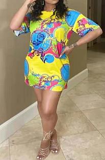 Vestido suelto con estampado digital de posicionamiento de moda NYZ6012