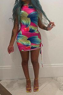 Mini vestido con detalle fruncido de impresión por lotes de mujer sexy NK225