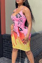 Euramerican Sling Flame Letter Positioning Print Dress ALS248