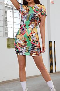 Vestido casual con estampado de cómics de moda euramericana QL1006