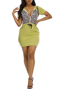 Модное повседневное платье с капюшоном в стиле пэчворк с леопардовым принтом N9293