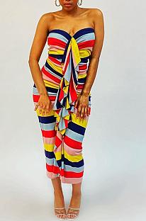 Сексуальное длинное платье в полоску с воланами на плечах N9205