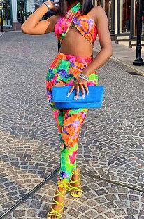 Sexy Trendy Shest Wrap Tie Dye Printing Наборы брюк AFM2016