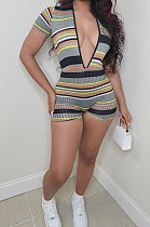 Color Stripe Screw Thread Short Sleeve Deep V Neck Romper Shorts MLM9063
