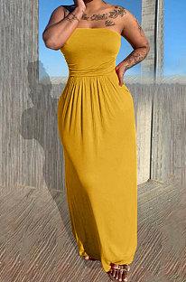 Модный сексуальный бюстгальтер-бандо, свободное однотонное длинное платье KSN8083