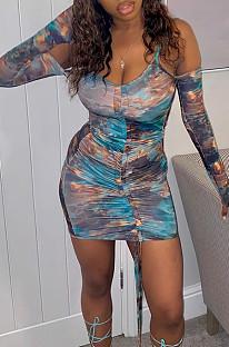 Платье с длинным рукавом Fashion Draw Sting Tie Dye JG020