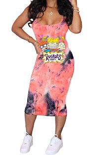 فستان ميدي عصري للنساء برباط على شكل رسوم كرتونية وحزام عزى AMN8001