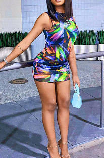 Сексуальное платье с контрастным цветным принтом JG016