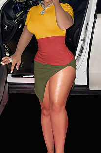 Trendy Multi Spliced Short Sleeve Mini Dress ASX6013