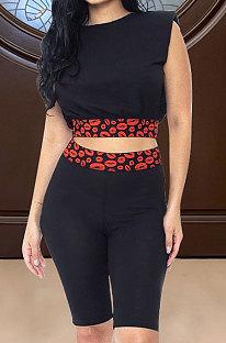 Женские повседневные шорты с принтом губ и шортами с круглым вырезом ASX6015