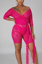 Sexy Fashion Stretch Lace V Neck Jumpsuits SMR10098