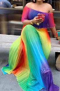 Длинное платье со складками и открытыми плечами с цифровым принтом BMC9815