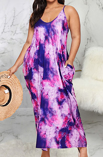 Модное летнее повседневное платье с v-образным вырезом и свободным слингом SMR10152