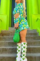 Euramerican Sping Summer Print Heart Short Skirt Two-Piece SDE2113