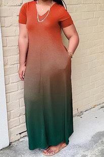 Женское постепенное изменение с коротким рукавом, мода плюс длинное платье WA7028
