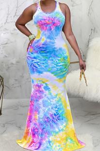 Euramerican Fashion Длинное платье с принтом тай-дай SMR10075