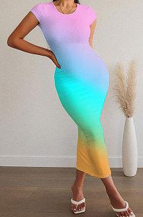 فستان نسائي متوسط الطول برقبة دائرية وأكمام قصيرة ASX6016