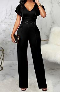 Модный повседневный костюм с v-образным вырезом из чистого цвета SMR10039