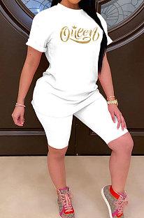 Women Fashion Casual Printing Sport Short Sleeve Shorts Sets ASX6018