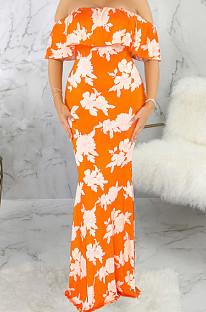 Сексуальная цифровая печать одно слово Led Boob Tube Top длинное платье SMR9901