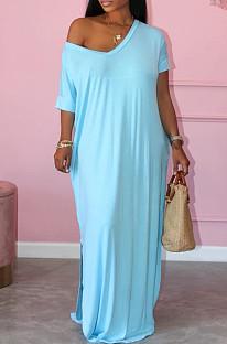 Модное свободное длинное платье с коротким рукавом и открытой вилкой с глубоким V-образным вырезом X9300