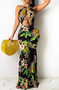 Модное сексуальное длинное платье с вырезом на шее и открытой спиной WY6791