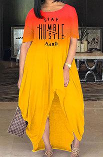 Женское модное длинное платье с открытой вилкой и постепенным изменением с надписью MQX2333
