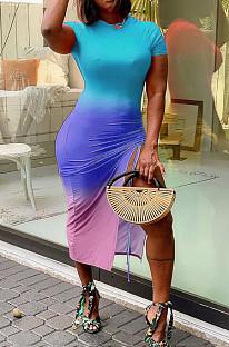 Модное платье с короткими рукавами и принтом с градиентным позиционированием WY6736